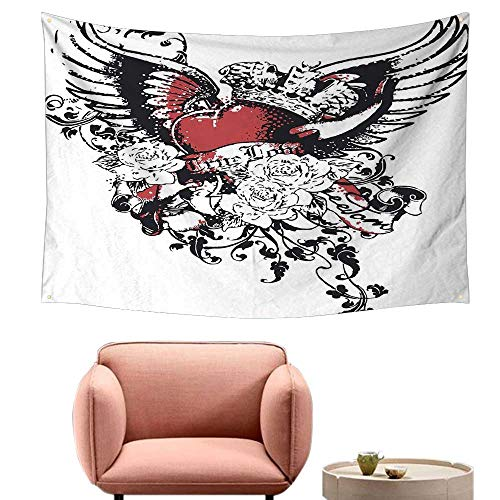 - Agoza Fashion Tapestry Modern Tattoo Style Heart Crown with Wings Artictic Love Valentines Gothic Romance Graphic Beach Tapestry 59