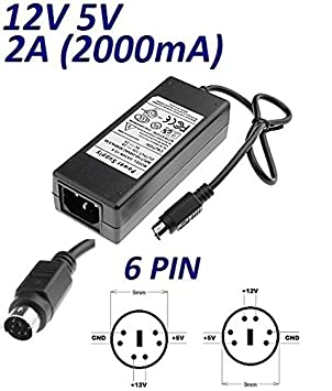 Cargador Corriente 12V 5V 2A 6 PIN DIN Reemplazo Zaapa JHS-E02AB02-S16 Recambio Replacement