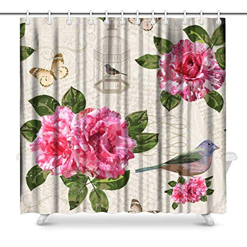 InterestPrint Vintage Pink Flowers Bird Cage and Butterflies Fabric Bathroom Decor Shower Curtain Set with Hooks, 72 Inches Extra Long (Vintage Bird Cage Shower Curtain)