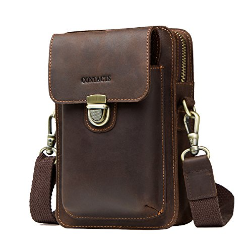Contacts Crazy Horse Leather Crossbody Phone Bag Waist Pack Purse Wallet Dark Coffee