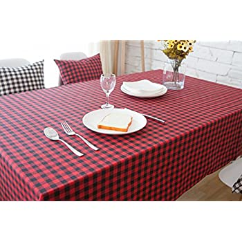 Hmlover Modern Style Linen Tablecloth Without Lace Red And Black Plaid 1Pcs