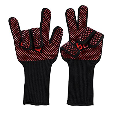 Grilling Gloves, OUTAD BBQ Grilling Gloves Heat Resistant for Oven baking Cooking Barbeque Smoking Home and Kitchen Tools
