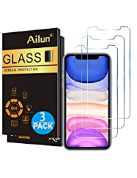 Ailun Glass Screen Protector for iPhone 11 iPhone XR 6.1 Inch 3 Pack Tempered Glass Screen Protector for Apple iPhone 11 iPhone XR 6.1 Inch Display Anti Scratch Advanced HD Clarity Work Most Case