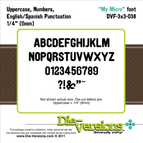 """Brand New Die-Versions Font Die-My Micro, .25"""" Brand New"""