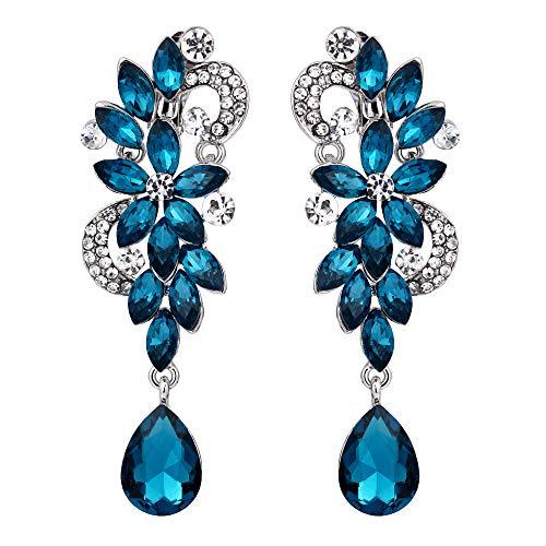 (BriLove Wedding Bridal Clip On Earrings for Women Bohemian Boho Crystal Flower Chandelier Teardrop Bling Long Dangle Earrings Turquoise Color Silver-Tone )