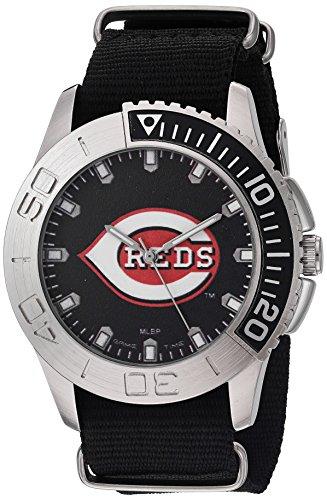 (Game Time Men's 'Starter'  Metal and Nylon Quartz Analog  Watch, Color:Black (Model: MLB-STA-CIN))