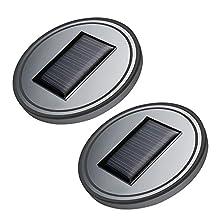 Elisona-2Pcs Portable Car Cup Holder Mat Pad Daily Life Waterproof Solar Charging LED Vibration Sensor Car Bottle Drinks Decoration Atmosphere Light Cup Mat