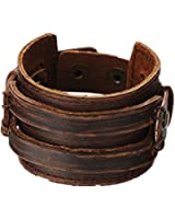Brown Leather Men's Cuff Bracelet