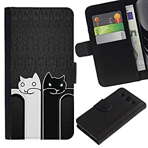 Black And White Cat Grey Minimalist Cute - la tarjeta de Crédito Slots PU Funda de cuero Monedero caso cubierta de piel Samsung Galaxy S3 III I9300