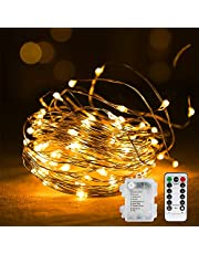 Vegena Luces de hadas LED impermeables a batería de alambre de cobre para habitaciones, Navidad, habitaciones infantiles, exteriores, fiestas y bodas 10 m Blanco cálido