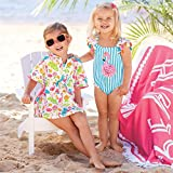 Little Girls Linen Cactus Flamingo Cover-up Beach