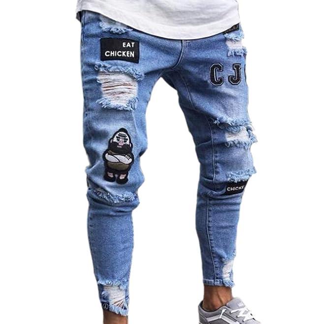 5470d5c9ca4f3 ... Pantalones Vaqueros Pitillo Desgastados y elásticos Desgastados con  Cinta Ajustada y Pantalones Ajustados de Hip-Hop  Amazon.es  Ropa y  accesorios