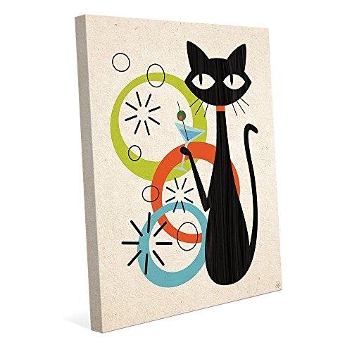 Retro Postmodern Martini Cat with Astrobursts & Green, Orange & Blue Bubbles Wall Art Print on (Blue Retro Cat)