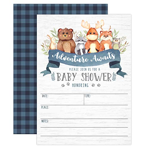 Blue Woodland Baby Shower Invitations, Forest Animal Baby Shower Invitations for Boy, Adventure Awaits Lumberjack with Bear, Moose, Raccoon, Deer, Baby Sprinkle, 20 Fill in Invitations and Envelopes