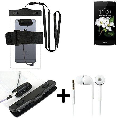 Estuche estanco al agua con entrada de auriculares para LG Electronics K7 (3G) + auricular incluido, transparente | Trotar bolsa de playa al aire libre caja brazalete del teléfono caso de cáscara bajo
