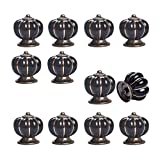 12pcs Pumpkin Ceramic Drawer Pulls Yazer Cute Stylish Elegant Knobs and Handles for Cabinet (Black)