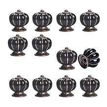 12pcs Pumpkin Ceramic Drawer Pulls Yazer Cute Stylish Elegant Knobs and Handles for Cabinet (Black)