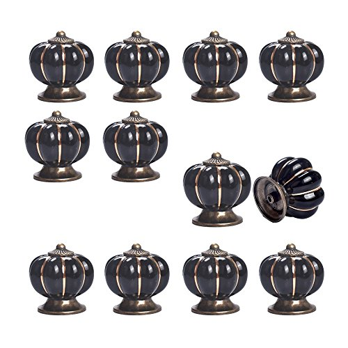 Yazer 12 Pack Popular Ceramic Pumpkin Knobs New Fashion Drawers Pulls Handles for Wardrobe,Cupboard,Bin,Doors,Cabinet,Dresser in 1 Bag (Black) (Copper Knob)