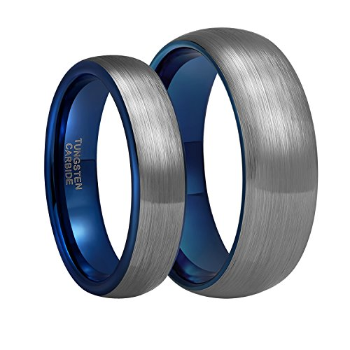 6mm Tungsten Carbide Wedding Ring Band for Men Women Silver Blue Two Tone Brushed Comfort Fit Size - 5 Mens Size
