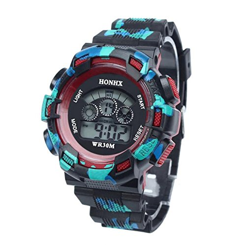 Kanpola Decoración Infantil Relojes,Waterproof Cool Mens Boys LED Quartz Alarm Date Sports Wrist Watch RD: Amazon.es: Relojes