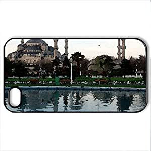 Blue Mosque at Blue Hour with Moonlight in turkey - Case Cover for iPhone 4 and 4s (Religious Series, Watercolor style, Black)