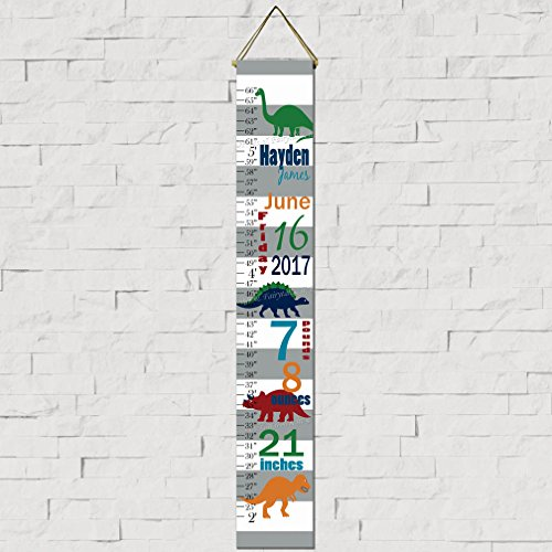 Dinosaur Birth Information Canvas Growth Chart Print, Height Chart, Ruler (Dinosaur Growth Personalized Chart)