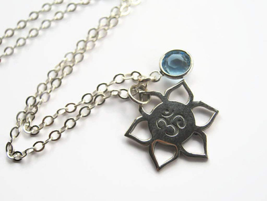 Birth Flower Jewelry with Personalized Name Lotus Flower Necklace for July Gift for Mom or Girl Artisan Handmade Sterling Silver