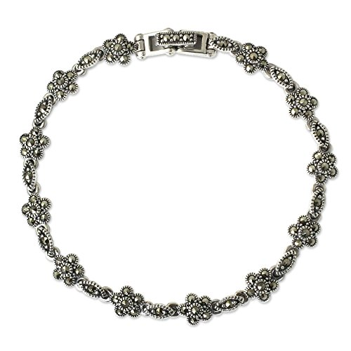 NOVICA Marcasite .925 Sterling Silver Link Bracelet, 7
