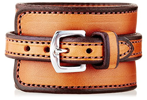 (Chunky Equestrian Horse Natural Leather Cinch Cuff Bracelet (Natural/Natural))