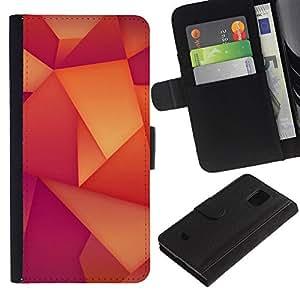 KingStore / Leather Etui en cuir / Samsung Galaxy S5 Mini, SM-G800 / Patrón Polígono Wallpaper Naranja Púrpura