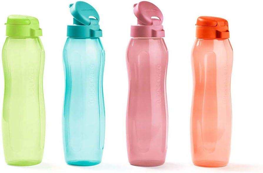 Juego de 4 botellas de agua Tupperware Eco Gen de 500 ml con tapón abatible