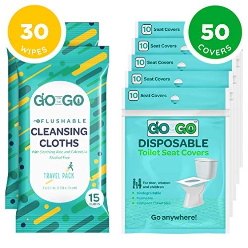 - Go on the Go Disposable Toilet Seat Covers for Travel - 50 Toilet Seat Covers Plus 30 Free Flushable Wet Wipes