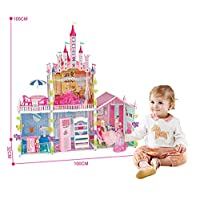 Bettina Large Plastic Dollhouse with Dolls, Big Playhouse Set with Furniture, Pink