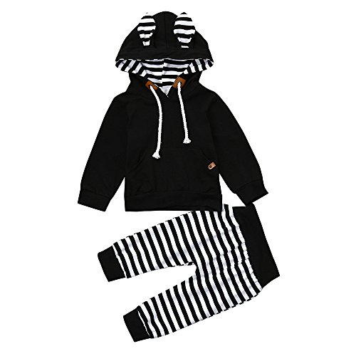YanHoo Conjunto de Ropa para niños Recién Nacido bebé niño niña a Rayas Tops con Capucha + Pantalones 2 Piezas Trajes Conjunto de Ropa Traje de pantalón con ...