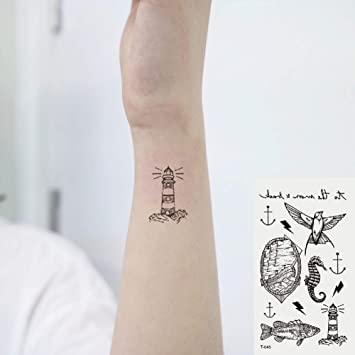 9203c37c33b93 Amazon.com : Oottati Small Cute Temporary Tattoos Stickers Sailing seahorse  fish bird lighthouse (2 Sheets) : Beauty