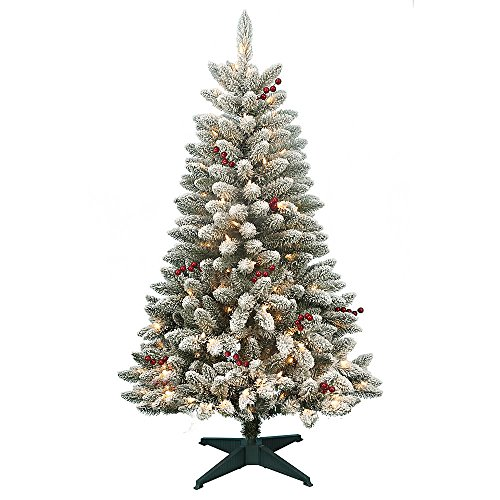 4.5' Redwood Berry and Flocked Pine with 200 Clear Lights Flocked Christmas Tree Sale