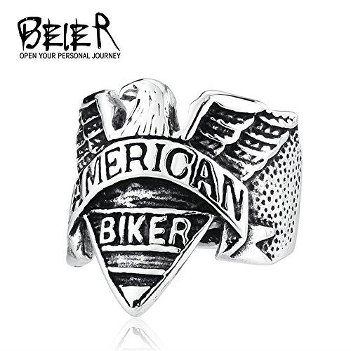 - American Biker Stainless Steel Punk Biker Motorcycle Flying Freedom Eagle Ring Animal Jewelry BR8-206 (13)