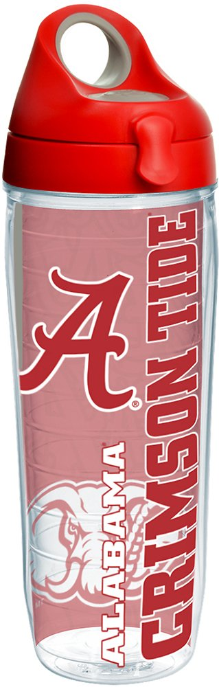 Tervis 1214510 Alabama Crimson Tide College Pride Tumbler with Wrap and Red with Gray Lid 24oz Water Bottle, Clear