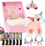 BESTISUR Unicorns Gifts for Girls in Mystery Box – Unicorn Glitter Bag, DIY Charm Bracelet Making Kit, Tempora