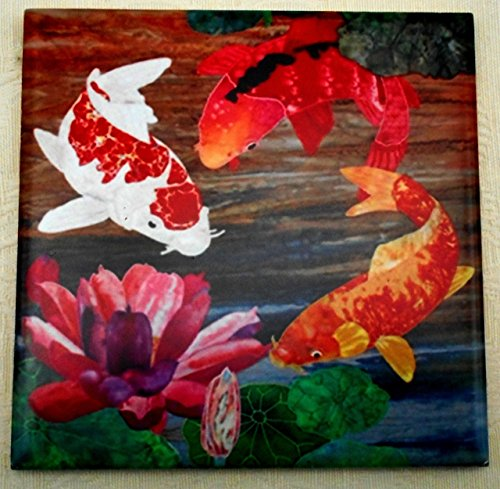 Decorative Ceramic Tile Coaster, Koi Fish & Lotus Flower Art, Good Luck Wedding Housewarming Gift