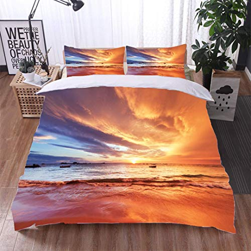 Home 3 Piece Print Quilt Set,Sunset Over Indian Ocean,Soft,Breathable,Hypoallergenic,Patterned Technique King Quilt Set