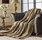 Lindsey Home Fashion Faux Fur Throw, Blankets for Bed Super Soft Fiber, Mink, Wolf, Bear, Coyote, 60'x84', 60'x70', 60'x60' (60x70(INCH), Bear-Grey/Brown)