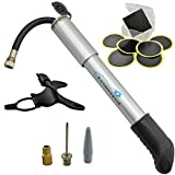 Lumintrail Mini Bike Pump w/Retractable Hose and Glueless Puncture Repair Kit For Presta & Schrader, Frame Mount