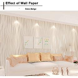 Oanon 3D beige Non Stick Wallpaper Non-woven Wallpaper Roll, Luxury Background Wallpaper Contemporary Wallpaper
