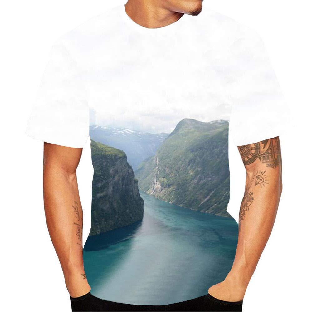 GzxtLTX Mens New Fashion 3D Flood Printed Short-sleeved T-shirt Top Blouse