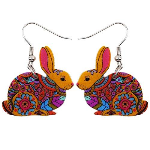 - Bonsny Acrylic Drop Dangle Easter Bunny Hare Rabbit Earrings Jewelry For Women Girls Kids Gift Charms