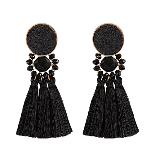 Boderier Bohemian Statement Thread Tassel Chandelier Drop Dangle Earrings with Cassandra Button Stud (Black) - Elegant Black Tassel