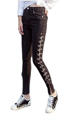 6ef79ef509b GAGA Womens Casual Eyelet Side Lace Up Denim Bandage Long Pants Stretch  Jeans Black M