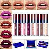 Makeup Lipstick Matte Set,DE'LANCI Liquid Lipstick Long Lasting Waterproof,Dark Red Liquid Lip Gloss Beauty Stay All Day,8 Colors Lipgloss Natural Nude Lipsticks High End Gift Kit