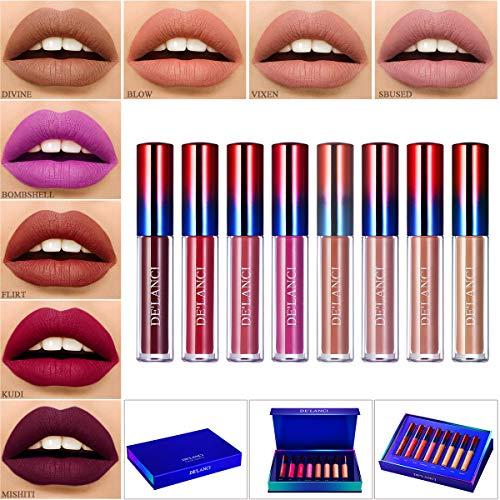Makeup Lipstick Matte Set,DE'LANCI Liquid Lipstick Long Lasting Waterproof,Dark Red Liquid Lip Gloss Beauty Stay All Day,8 Colors Lipgloss Natural Nude Lipsticks High End Gift Kit